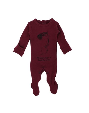 L'ovedbaby L'ovedbaby - Graphic Footie Cranberry Beet 6-9