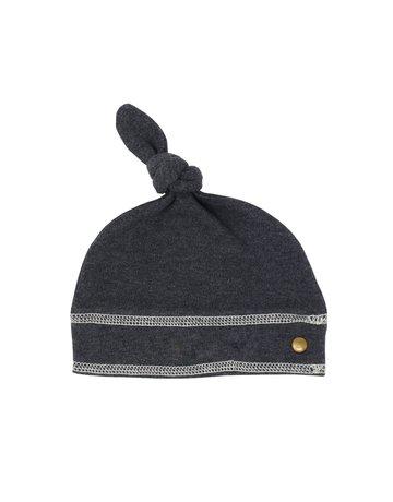 L'ovedbaby L'ovedbaby Top-Knot Hat Dark Heather/Beige 3-6