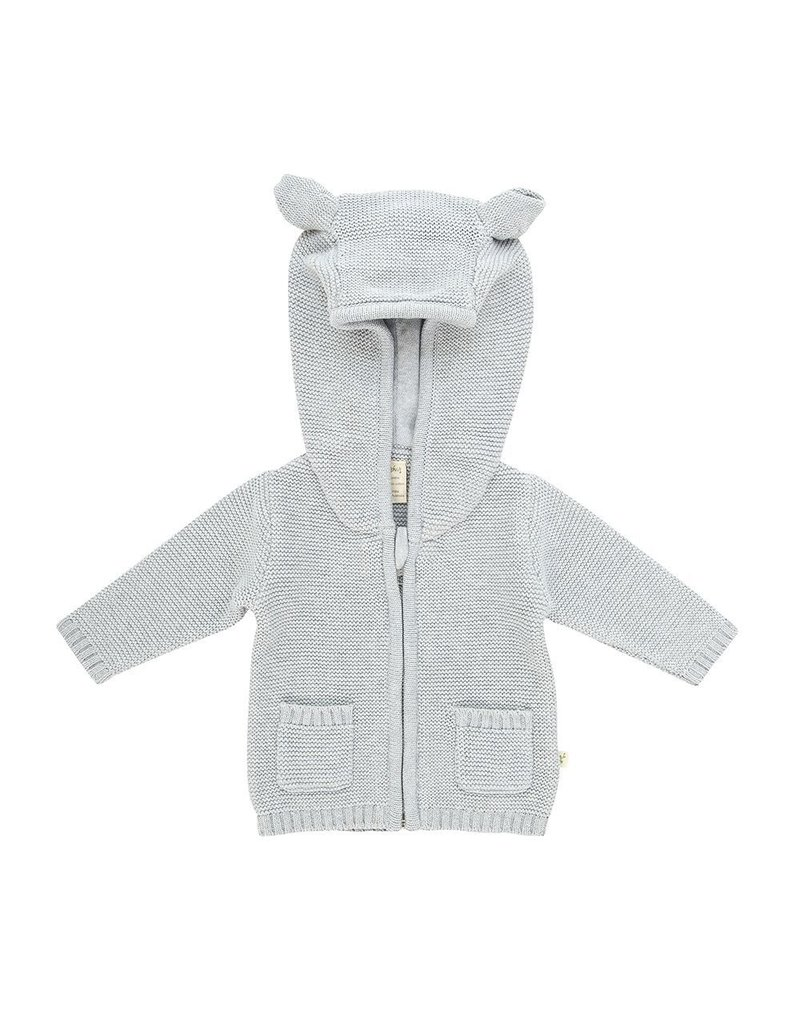 Tiny Twig - Knitted Hoodie Grey Marle 0-3m