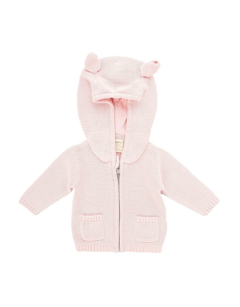Tiny Twig - Knitted Hoodie Soft Pink 12-18m