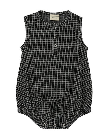 Turtledove London - Bubble Romper Grid Jersey 0-3 M
