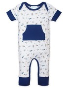 Feather Baby Feather Baby - L/S Kangaroo Romper Spaceships on White 9-12