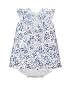 Feather Baby Feather Baby - Henley Dress + Bloomer Indigo Daffodil on White 3-6