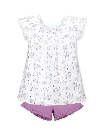 Feather Baby Feather Baby - Ruched Tunic Short Set Peacock on White 3-6