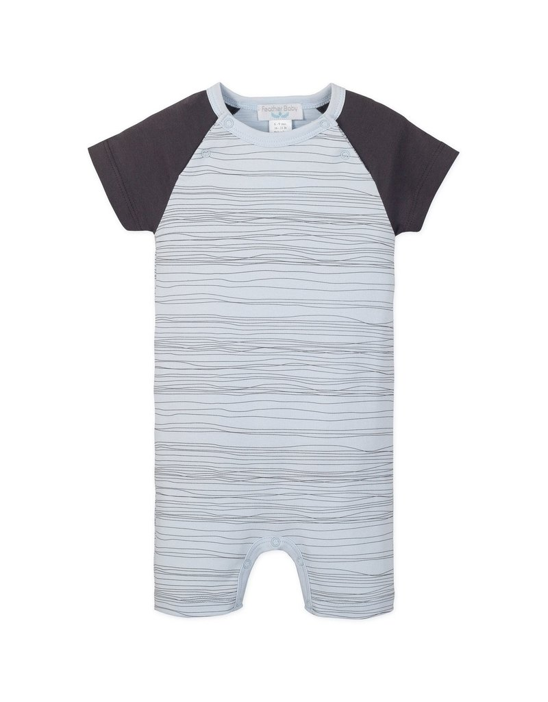 Feather Baby Feather Baby - S/S Sailor Sleeve Romper stripe on Baby Blue 3-6