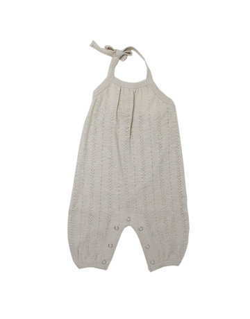 L'ovedbaby L'ovedbaby - Kids Pointelle Tie Romper Stone 2T