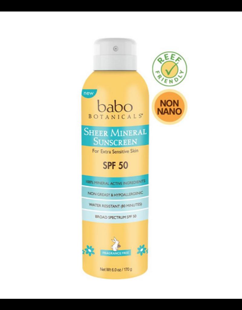 Babo Botanicals Babo Botanicals - Sheer Mineral Sunscreen Spray 50SPF 6oz.