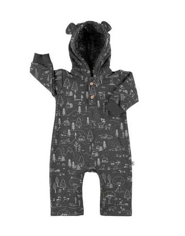 Red Caribou Bear French Terry Jumpsuit