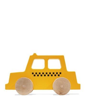 Manny & Simon Manny & Simon - Taxi, Wooden Push Toy, Dark Yellow