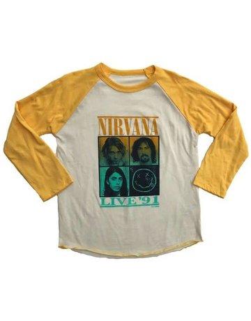 Rowdy Sprout Rowdy Sprout - Raglan Tee Nirvana Cream/ Marigold 12-18