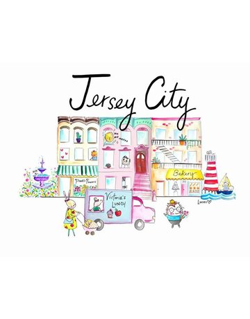 "Lady Lucas Art Jersey City Illustration 11""x14"""