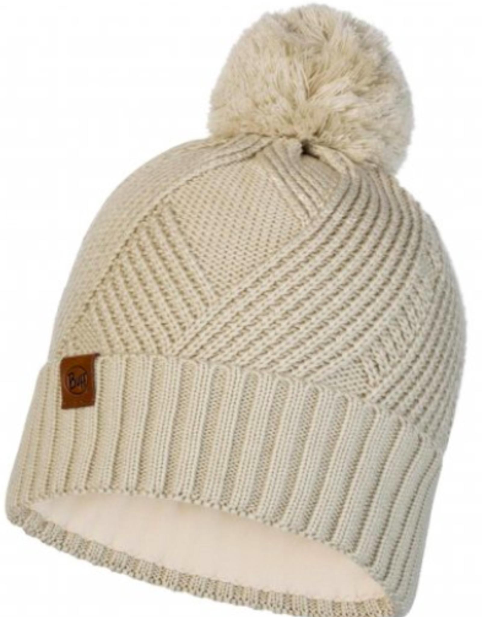 KNITTED & POLAR HAT- Raisa Cream-BUFF