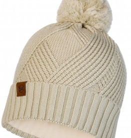 KNITTED & POLAR HAT- Raisa Cream-BUFF