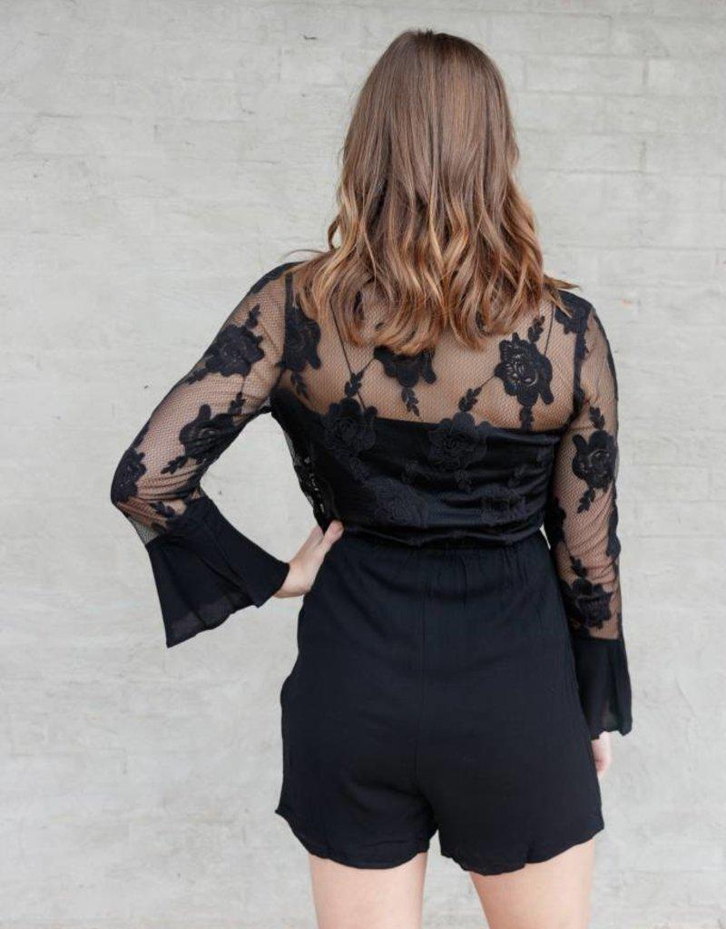 Buffalo Trading Co. Long Sleeve Lace Romper
