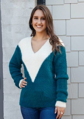 Molly Bracken Colorblock Fuzzy Sweater
