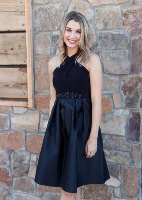 Adrianna Papell Crossed Pleated Dress