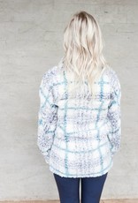 True Grit Frosty Tipped Taos Plaid Pile 1/4 Zip Pullover
