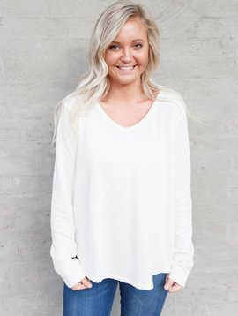 Dylan by True Grit Long Sleeve Burnout V Tee