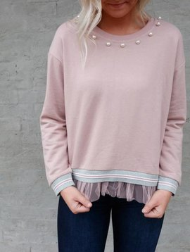 Molly Bracken Pearl Neck Ruffle Sweater