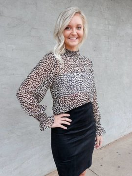 Molly Bracken Bell Sleeve Animal Print Top