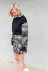 English Factory Plaid Sleeve Sweater