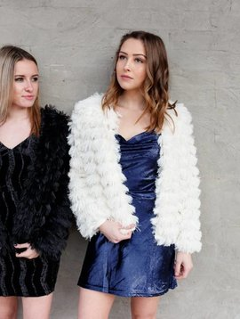 She + Sky Faux Fur Layered Jacket