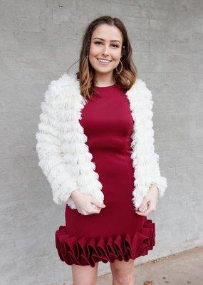 Donna Ricco Ruffled Hem Scuba Dress