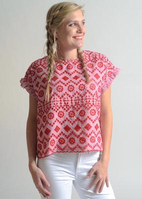 Molly Bracken Contrast Pattern Top