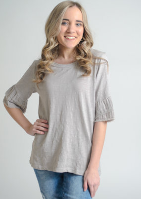 Dylan by True Grit Slub Double Ruffle Tee