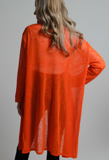 KW Fashion Corp. Sheer Cardigan Orange