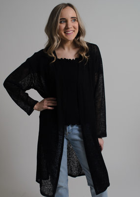 KW Fashion Corp. Sheer Cardigan Black