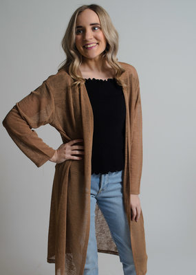 KW Fashion Corp. Sheer Cardigan Taupe