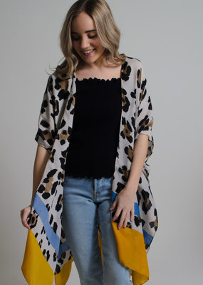 KW Fashion Corp. Leopard Print Kimono Mustard