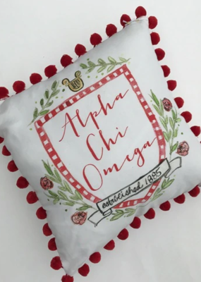Over the Moon Alpha Chi Omega Pom Pillow