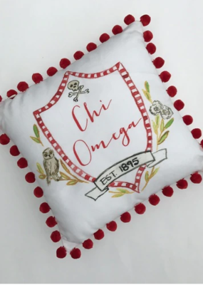 Over the Moon Chi Omega Pom Pillow