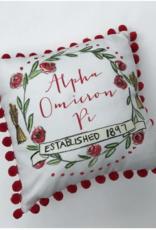 Over the Moon Alpha Omicron Pi Pom Pillow