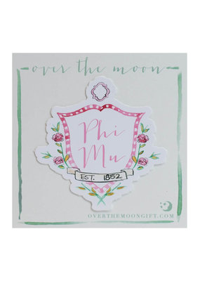 Over the Moon Phi Mu Decal Motif