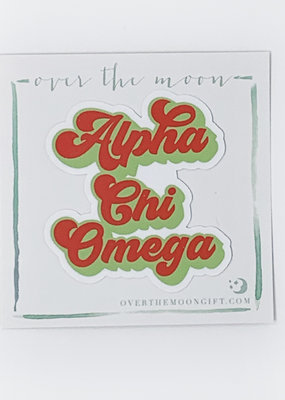Over the Moon Alpha Chi Omega Retro Decal