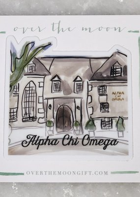 Over the Moon Alpha Chi Omega House Decal