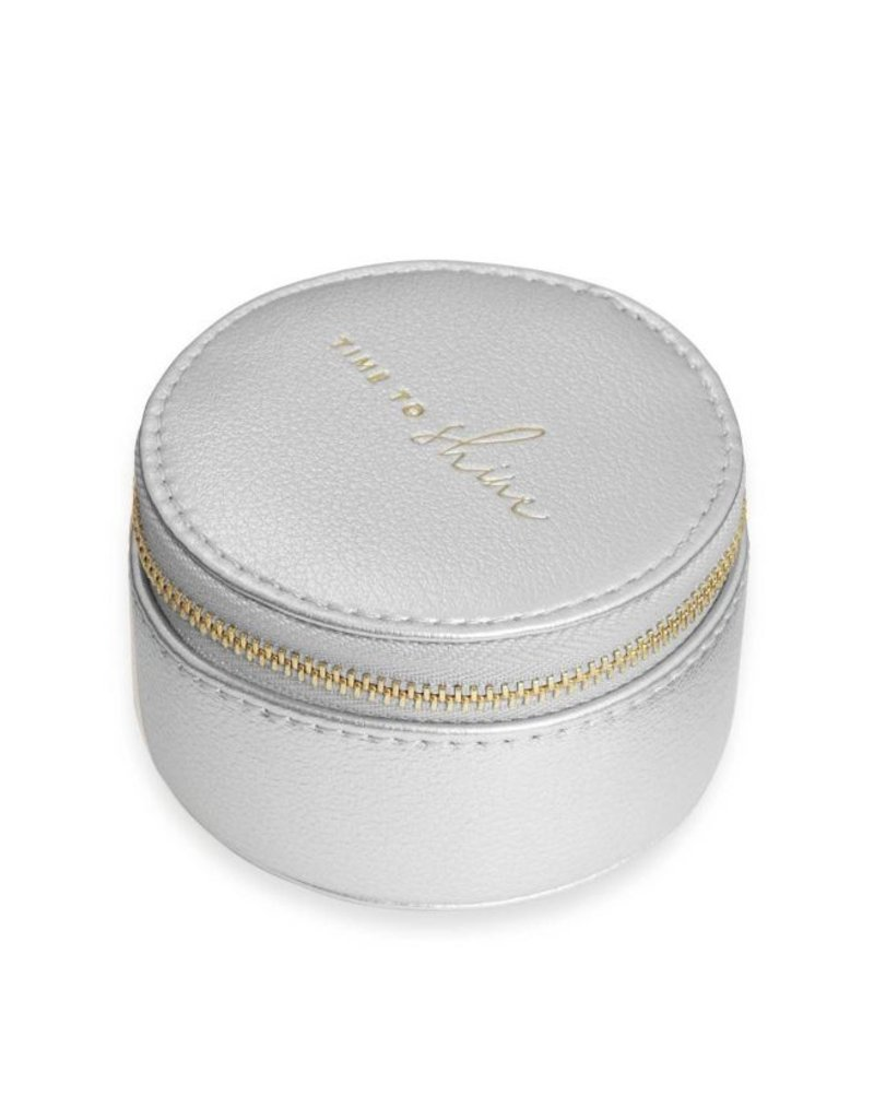 Katie Loxton Small Circle Jewelry Box  Time to Shine Silver