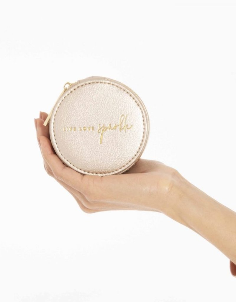 Katie Loxton Small Circle Jewelry Box Live Love Sparkle Gold
