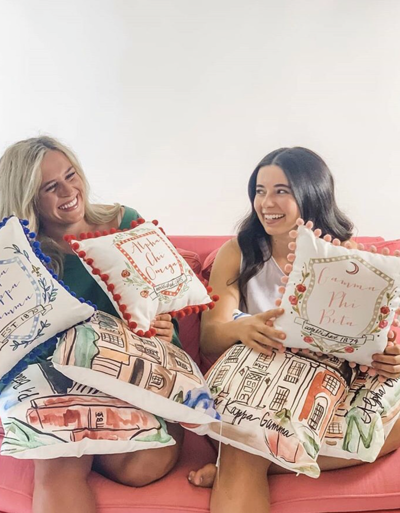 Over the Moon Chi Omega House Pillow