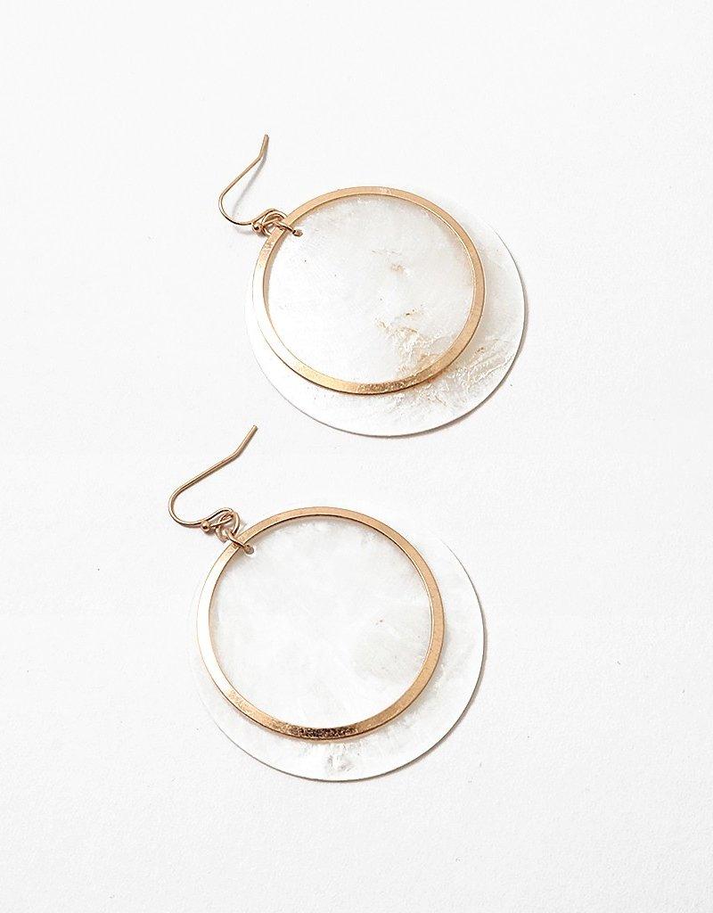 Disc Hoop Earring Gold/White Shell