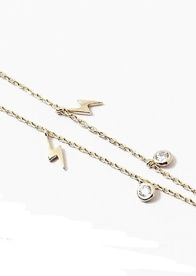 Lightning Charms Necklace Gold