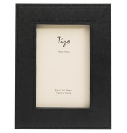 """Faux Leather Wide Frame Black 4""""x6"""""""