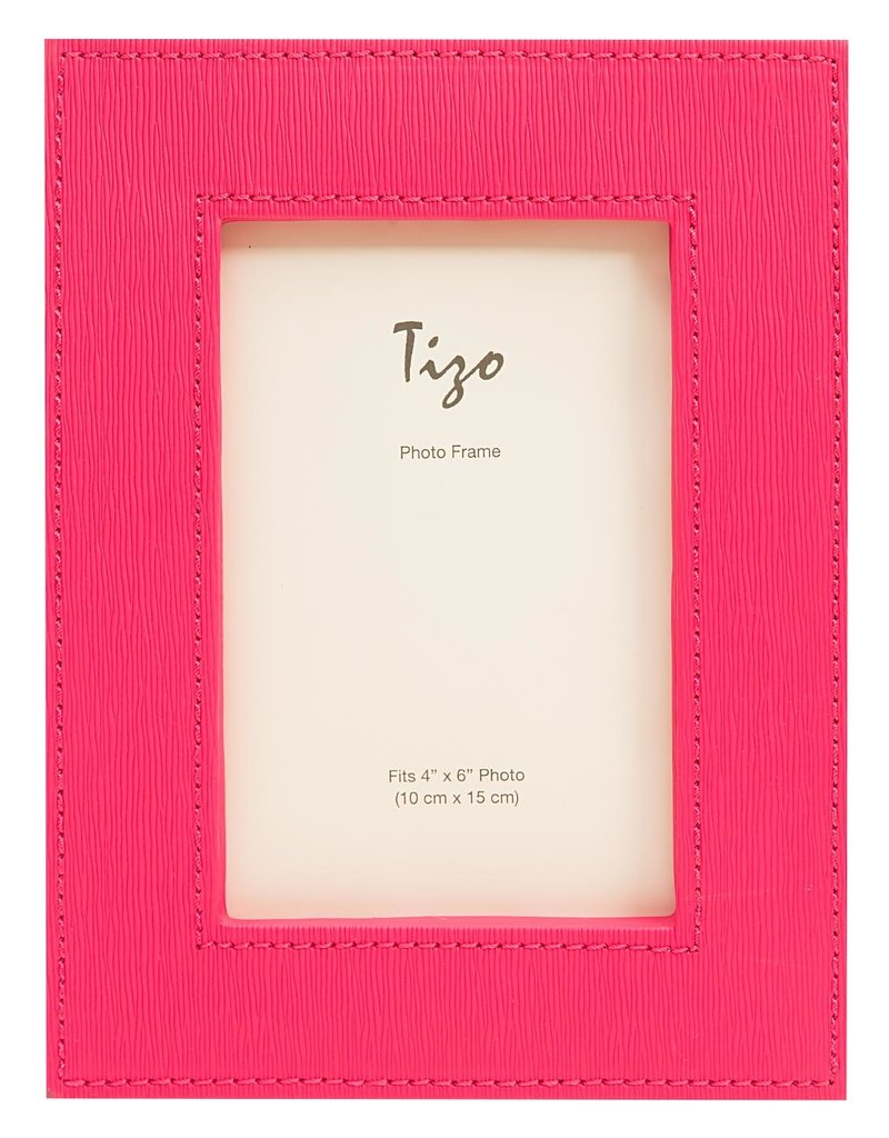 """Faux Leather Wide Frame Hot Pink 4""""x6"""""""