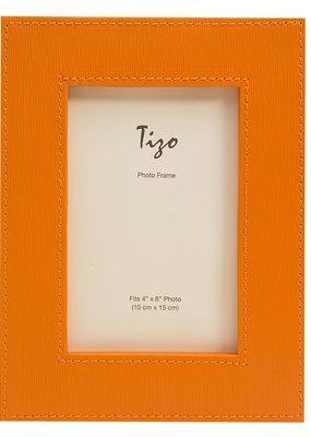 "Faux Leather Wide Frame Orange 4""x6"""