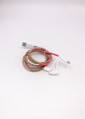3 in 1 Charging Cord Pink/Grey