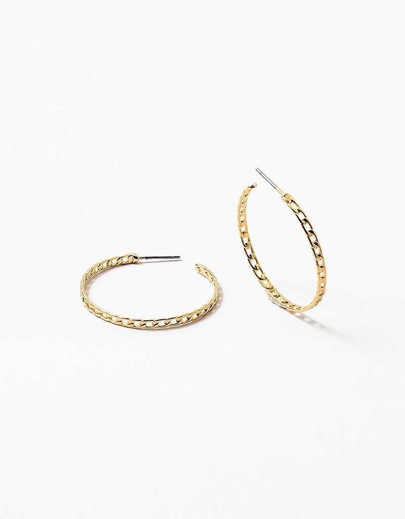 Flat Link Hoops Gold