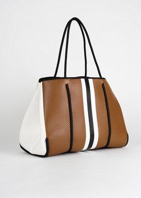 Haute Shore LTD. Greyson Naples Handbag Saddle/ Black White Stripe